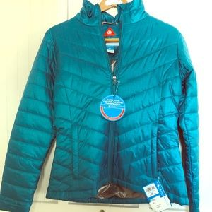 Columbia Omni-Heat reflective coat in teal.